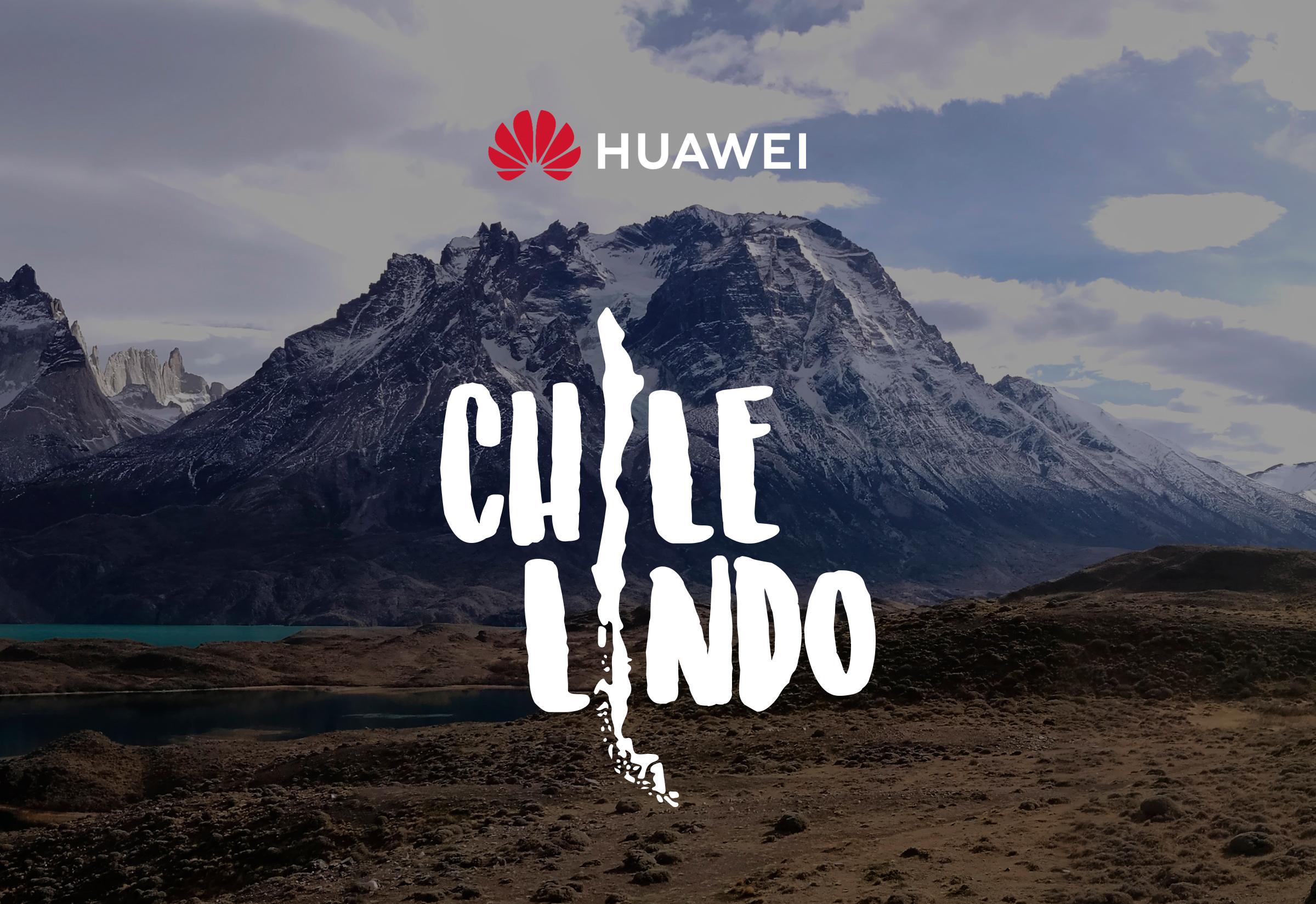 Logo de Huawei Chile Lindo. De fondo, una montaña nevada.